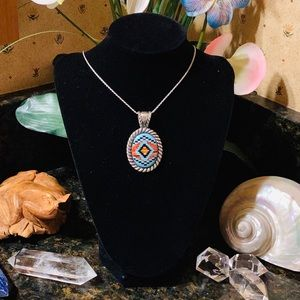 Carolyn Pollack Spiny oyster/turquoise pendant